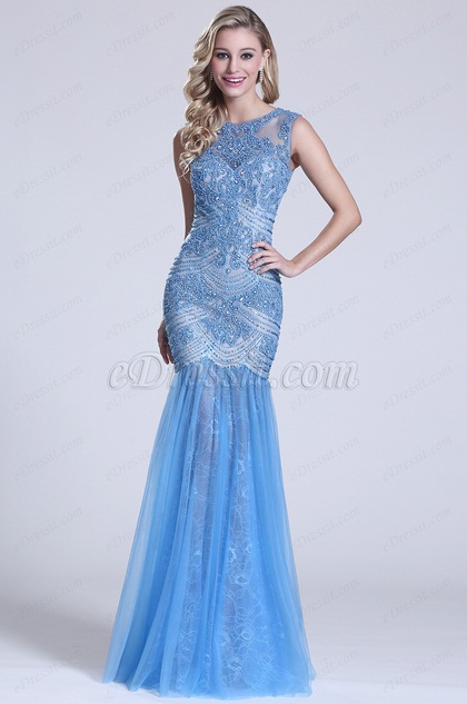 Gorgeous Sleeveless Beaded Blue Prom Dress (C36150405)
