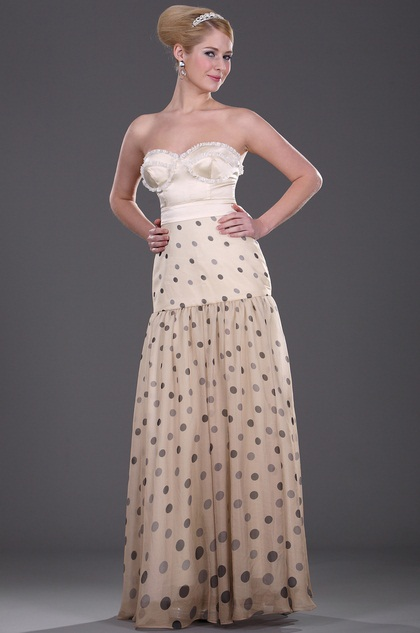 Strapless Sweetheart Polka Dot Evening Dress Formal Dress (H01091007)