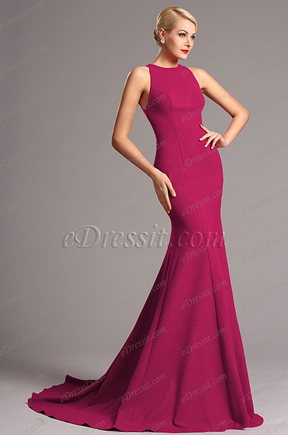 Sleeveless Hot Pink Formal Dress Evening Gown (X00155212)