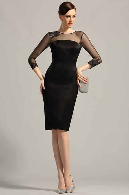 Long Sleeves Sheer Top Little Black Dress Cocktail Dress