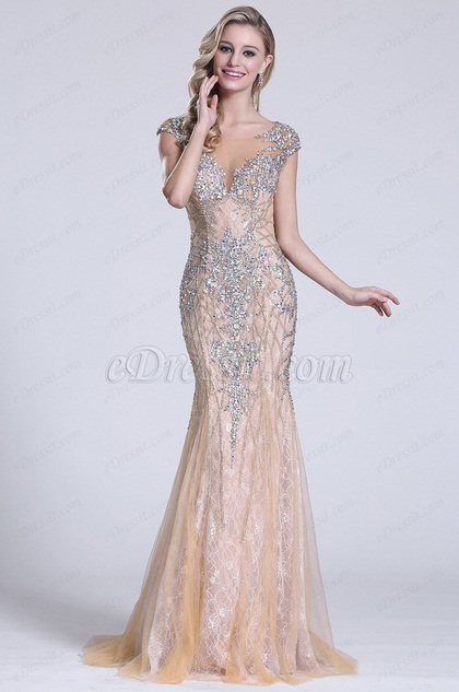 eDressit Beaded Capped Sleeves Beige Prom Gown (C36151814)