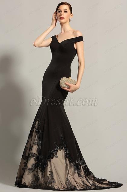 eDressit Off Shoulder V Neck Black Prom Dress Formal Gown (02153800)