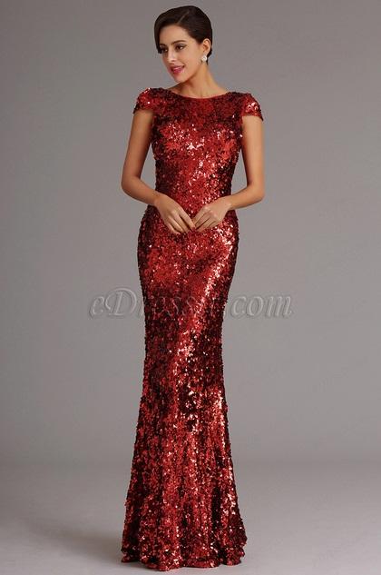 Stunning Capped Sleeves Burgundy Sequin Formal Dress Evening Dress (X07160317)