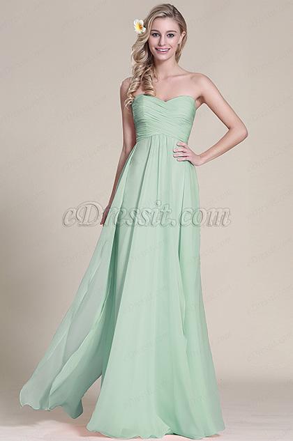Graceful Strapless Sweetheart Mint Bridesmaid Dress Evening Dress (07153304)