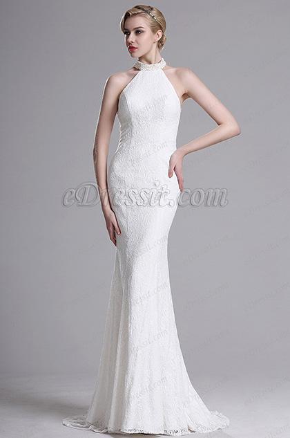White Lace Halter Mermaid Evening Bridal Dress (X00161307)