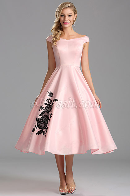 Off Shoulder Pink Tea Length Cocktail Dress X04161101