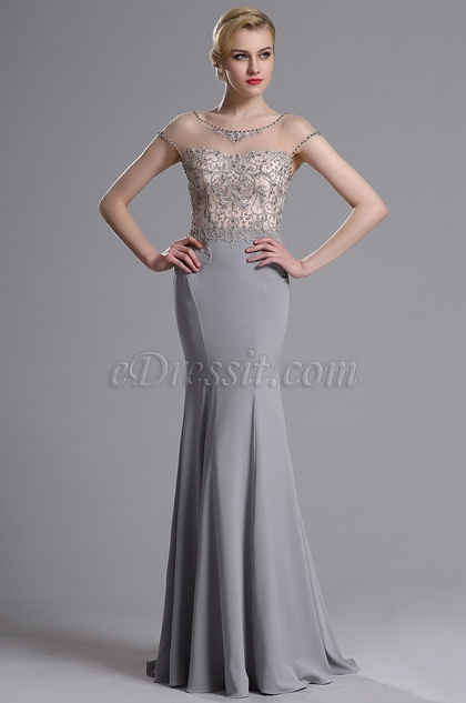 eDressit Illusion Neckline Beaded Mermaid Prom Evening Dress (02163608)