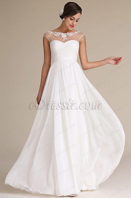 Sheer Top Capped Sleeves Sweetheart Bridal Dress Reception Dress (01160707)