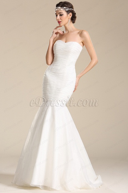 Strapless Sweetheart Trumpet Wedding Dress Bridal Gown (01151007)