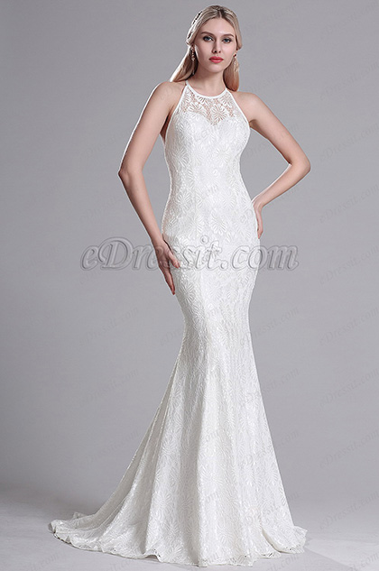 eDressit Halter Straped Lace Mermaid Wedding Dress Bridal Gown (X00163707)