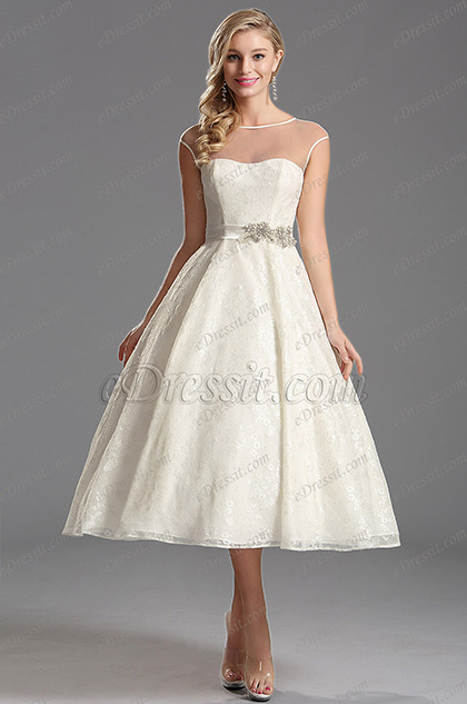 Illusion Sweetheart Neckline Tea Length Wedding Dress (X01150113)