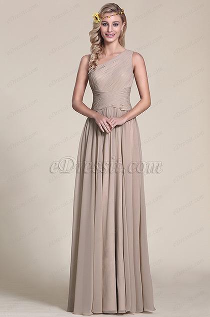 robe de soir e demoiselle d 39 honneur grise asym trique 07154208. Black Bedroom Furniture Sets. Home Design Ideas