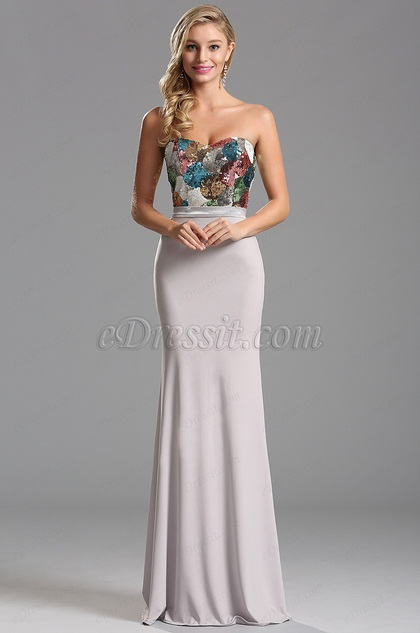 Strapless Sweetheart Colored Sequin Bodice Evening Formal Dress (X07160207)