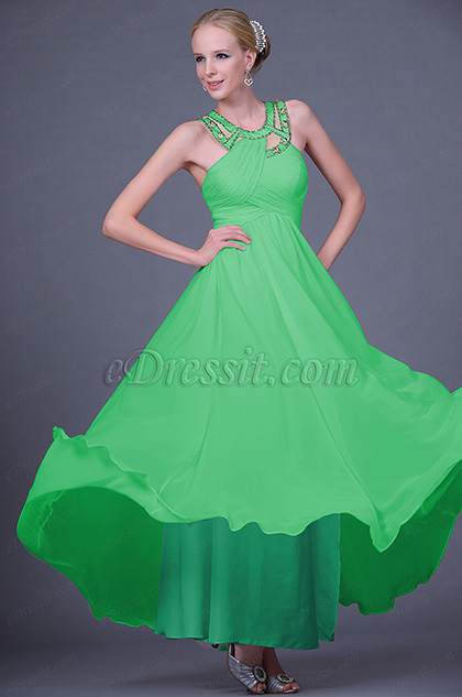 Beaded Halter Neck Green Evening Dress Prom Dress (H00112507-1)