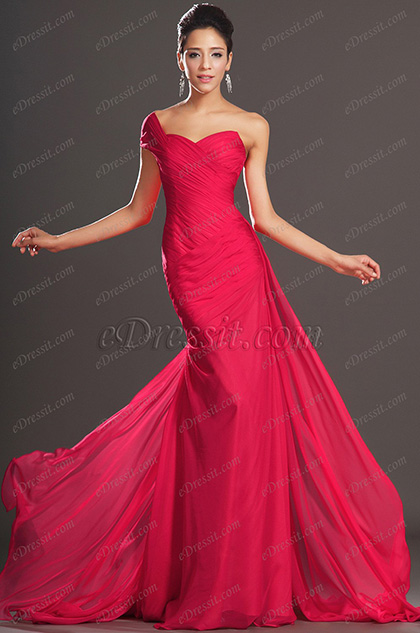 Elegant One Shoulder Red Evening Dress Prom Dress (H00132102-1)