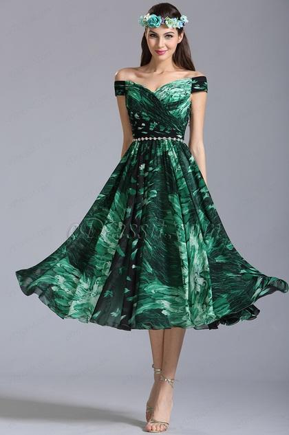 Edressit Off Shoulder Tea Length Summer Printed Dress