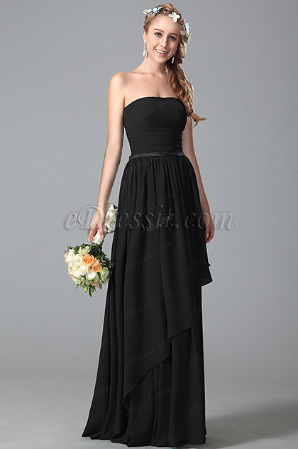 Strapless Black Bridesmaid Dress With Asymmetric Hem (07156300)