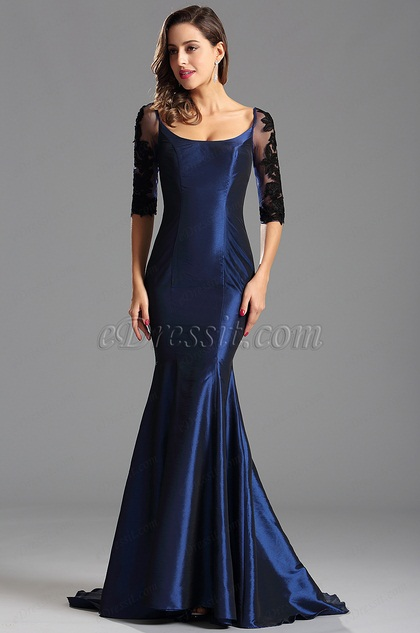 Robe de soirée sirène manches midi en dentelle sexy bleu (X26151605)