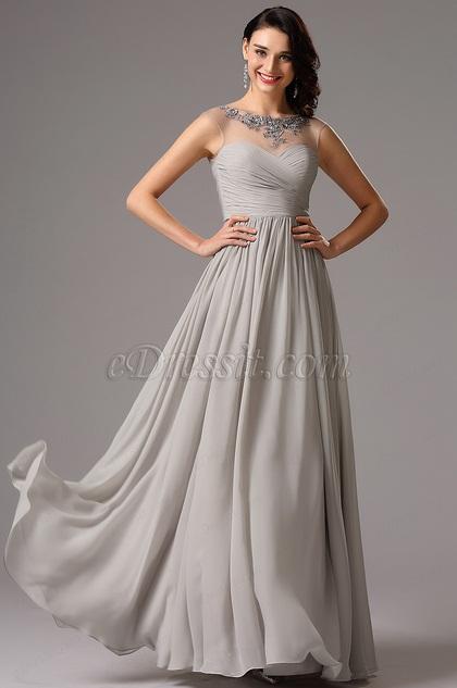 Серое Формальное Вечернее Платье с Празрачным Декольтем (00161908)
