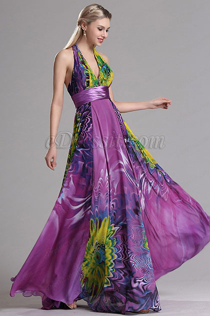 eDressit Halter Plunging Floral A Line Prom Evening Dress (X07158012)