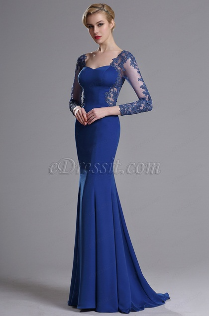 Edressit Blue Long Sleeves Applique Evening Prom Gown