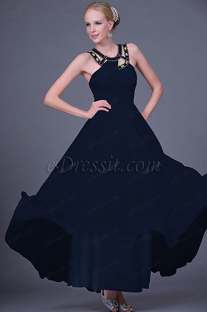 Beaded Halter Neck Blue Prom Dress Evening Dress (H00112507)