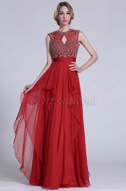 Gorgeous Sleeveless Beaded Red Prom Dress (C36151502)