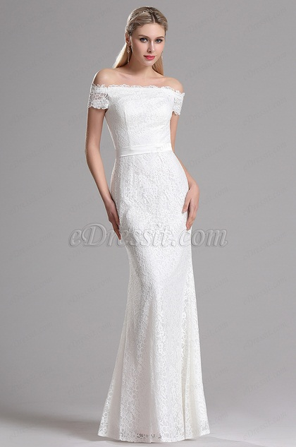 eDressit Off Shoulder White Lace Bridal Reception Dress (07153207)