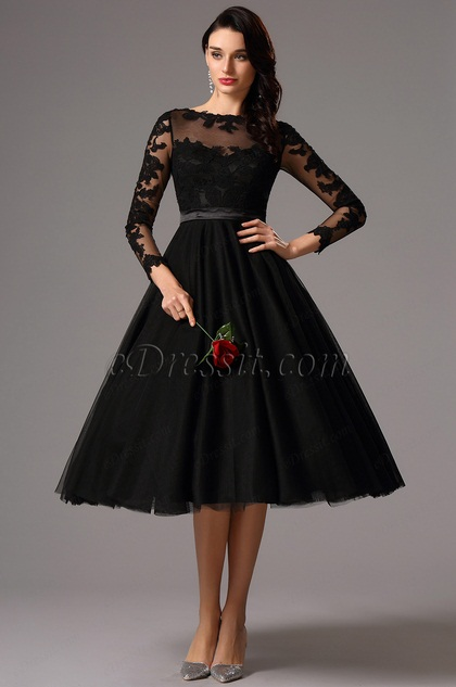 Long Lace Sleeves Tea Length Black Cocktail Dress (04161300)
