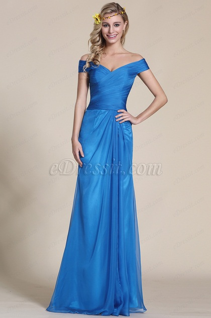Off Shoulder Blue Bridesmaid Dress Formal Gown (07153705)