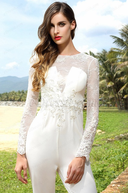 Long Sleeves Beaded Embroidery White Jumpsuit (03160107)