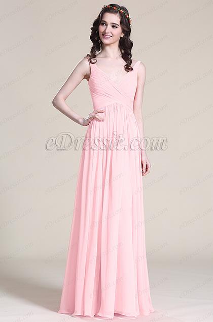 V Cut Pink Bridesmaid Dress Evening Dress (07151601)