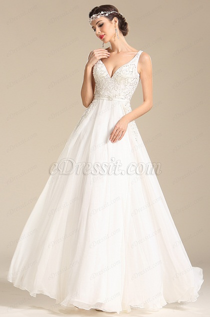 eDressit Sexy Plunging Neck Wedding Dress Prom Dress (01151707)