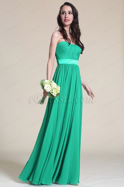 Simple A Line Strapless Green Bridesmaid Dress (07151504)