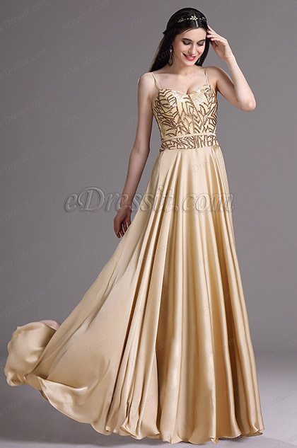 Edressit Gold Spaghetti Sequins Lace Prom Dress Ball Gown