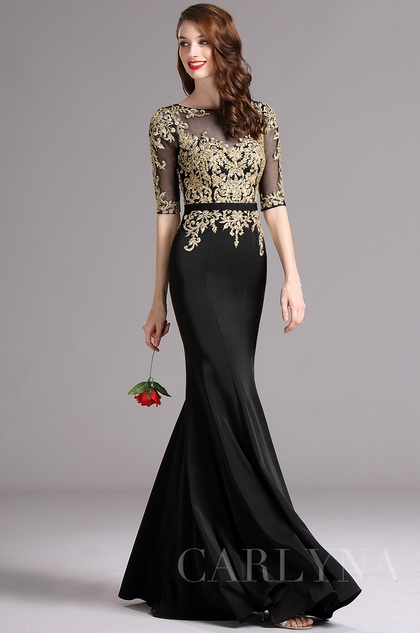 Carlyna Black Formal Gown with Illusion Sweetheart Neckline and Beaded (E61700)