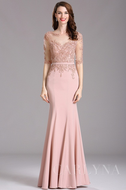 Carlyna Blush Illusion Beaded Applique Formal Dress With Sweetheart
