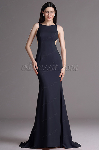 eDressit Navy Blue Sleeveless Evening Gown with Mermaid Train (00165505)