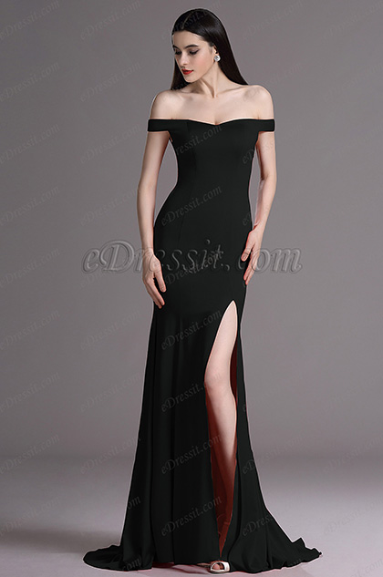 eDressit Black Off Shoulder High Slit Formal Evening Dress (00163500)
