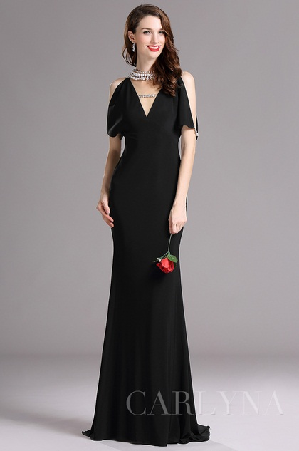 Carlyna Black V Neck Beaded Mermaid Formal Evening Dress