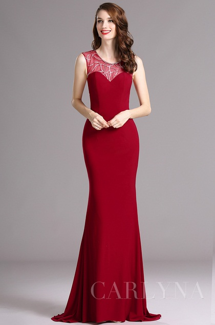 Carlyna Burgundy Sweetheart Sleeveless Beaded Evening Mermaid Dress (E60417)