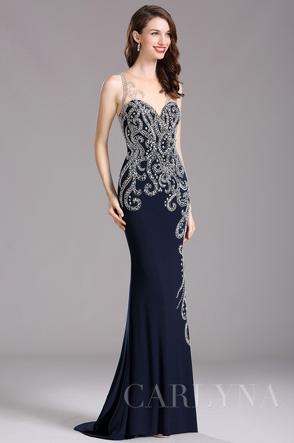 Carlyna Dark Blue Illusion Sweetheart Neckline Beaded Formal gown (E61505)