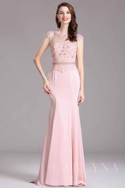 carlyna rosa spitze pailletten meerjungfrau kleid e62601. Black Bedroom Furniture Sets. Home Design Ideas
