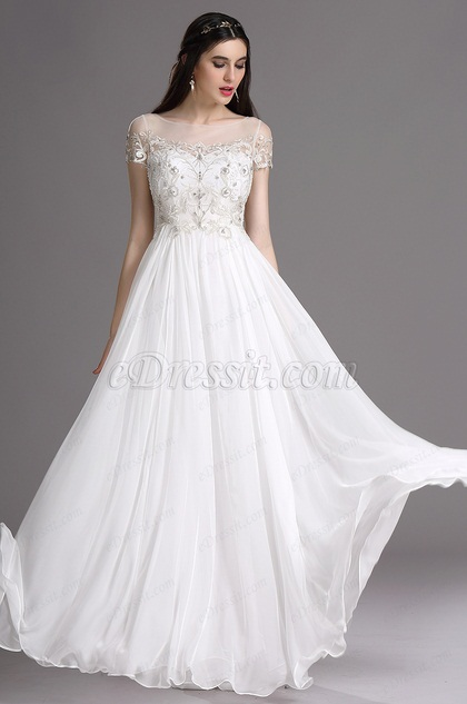 eDressit White Sweetheart Beaded Wedding Reception Dress with Embroide (01162007)