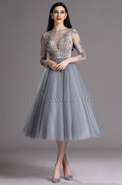 Edressit grey tea length party cocktail dress with for Silver tea length wedding dresses