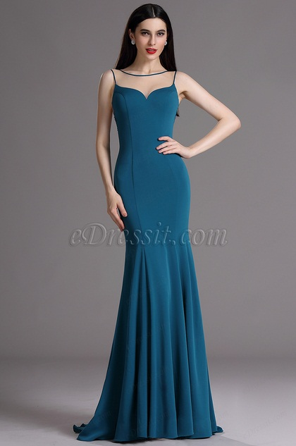 eDressit Blue Illusion Neckline Evening Dress with Lace Applique (02165505)