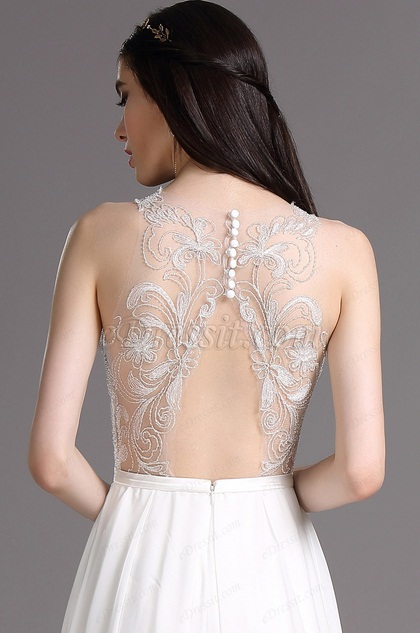 eDressit White Embroidery Halter Wedding Gown with Sewn Beads (01161907)