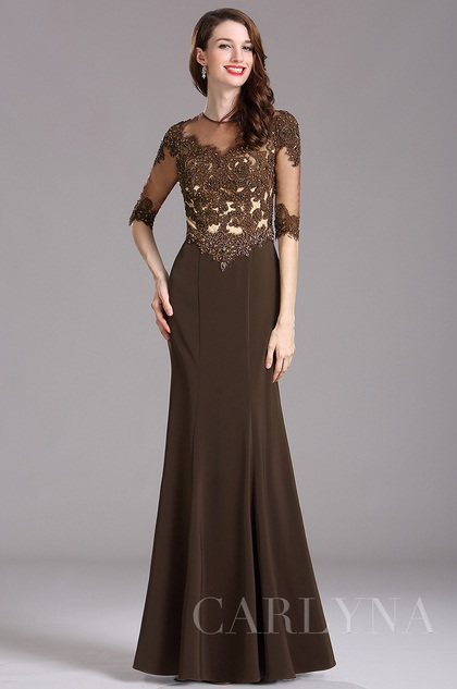 Carlyna Brown Beaded Mother of the Bride Dress with Illusion neckline (E62720)