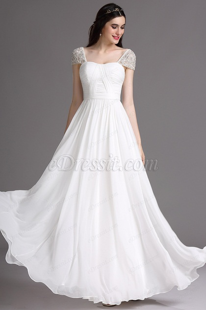 eDressit White Embroidery Wedding Dress with Beaded Cap Sleeves (01161807)