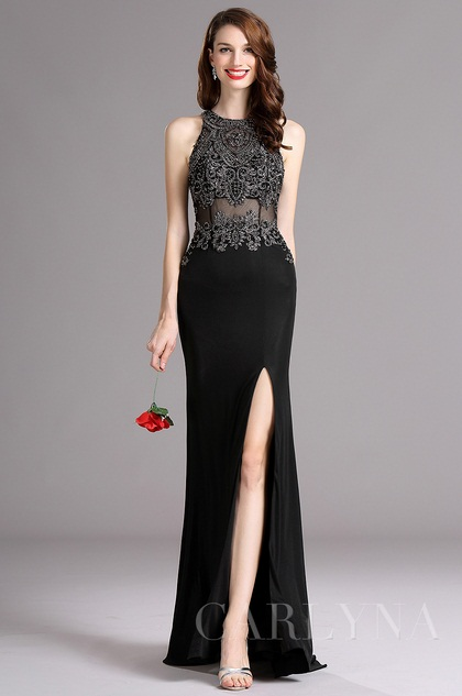 Carlyna Black Sleeveless Beaded Evening Gown with Slit Skirt (E62400)